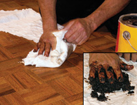 Step By Lying A Wax Finish On Wood Floor