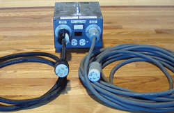 If you're connecting your big machine (3-wire) to a 4-wire outlet, the easiest way is to use a power booster with a 4-wire connection.