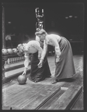 Vintage bowling picture - Two women bowling