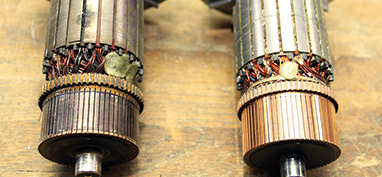 In the commutator on the left, you can see where the motor has actually been burned from being run with worn-out brushes. The one on the right shows what it should look like. (Click to enlarge)