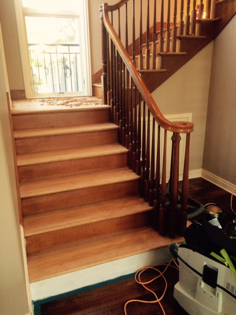 Scraping The Cherry Stair Treads.