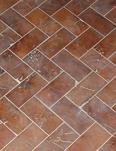 Top To Bottom End Grain Bricks Mirror Vaulted Ceiling Wood