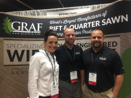 Laura Mullins, Heath Chamberlin and John Nichols in the Graf Brothers booth at the NAFCD + NBMDA Annual Convention.