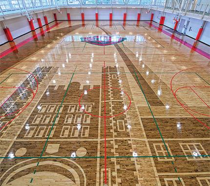 St Louis Landmarks Recreated With Stain On Gym Floor Wood Floor