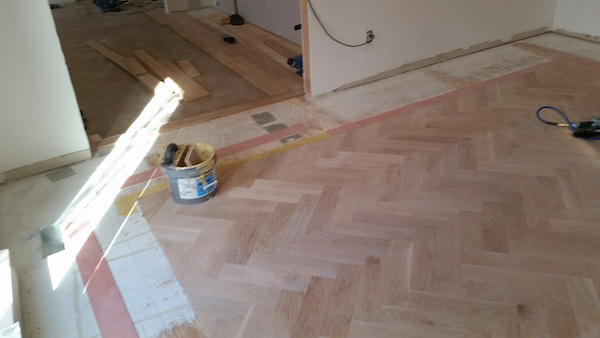 How to a herringbone floor part 4 installation sanding for Installing 3 4 inch hardwood flooring