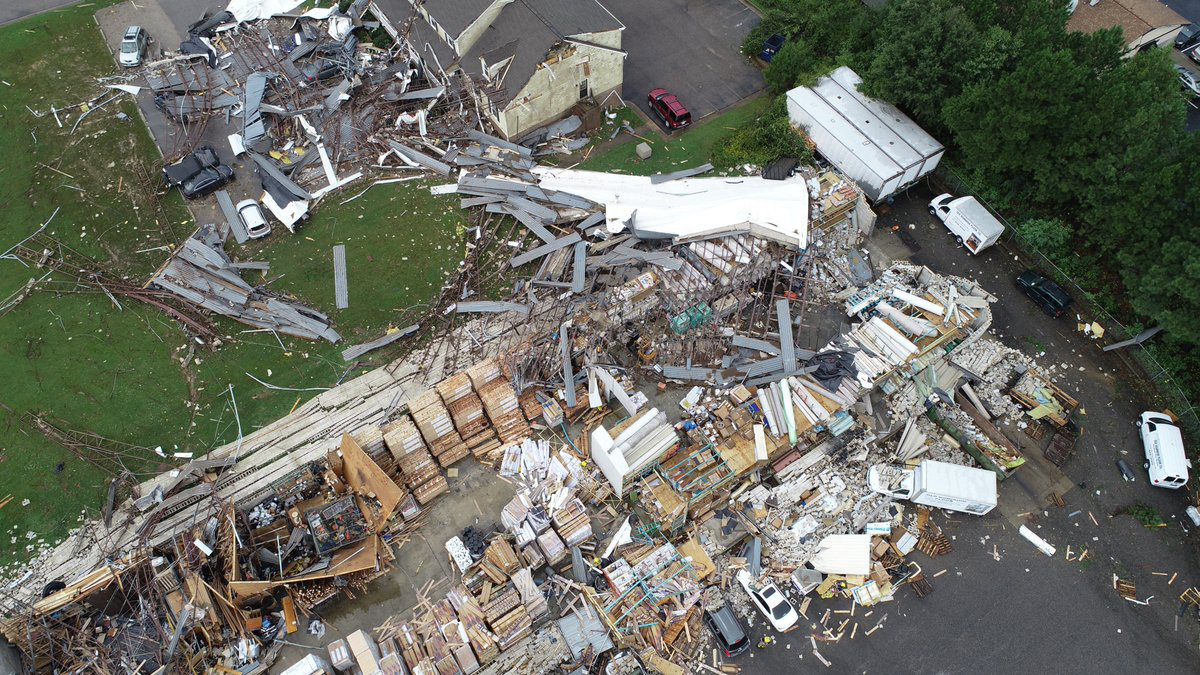 Drone footage of Old Dominion following the tornado. Source: Lt Jason Elmore, Chesterfield Fire/EMS Public Information Officer Twitter