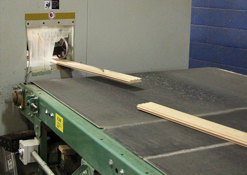 (5) Boards exit the side-matching machine.