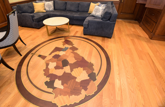 This wood floor medallion was among several controversial expenditures made by the West Virginia Supreme Court. (WV Legislative Photography/Perry Bennett)