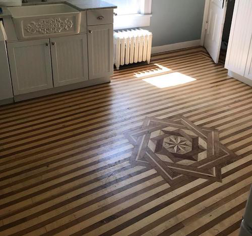 Numerous different flooring patterns can be found throughout the home. (Image: William Witten Home Facebook page)