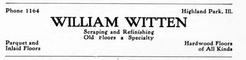An ad posted by hardwood floor craftsman William Witten in a 1906 telephone directory.