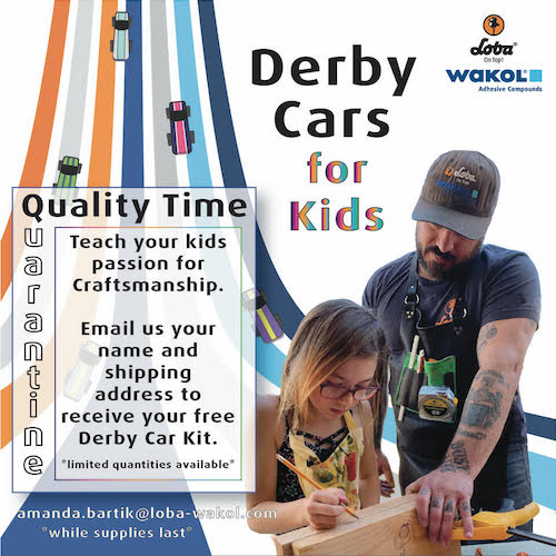 "Due to the postponement, the company decided to repurpose the derby car kits and create a ""Derby Cars for Kids"" activity for families during the quarantine."