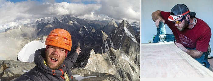 Two different lives: At left, a selfie on the summit of Daugou East (elevation 5,462 m/17,920 feet) at Siguniang National Park in Sichuan, China. At right, working on a live-edge install in Charleston, W.Va.