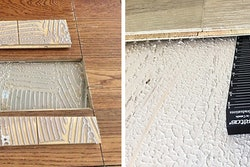 Common problems with glue-down installations: Left, destructive testing showed this installer used the wrong trowel. Right, the subfloor was not flattened before installation.