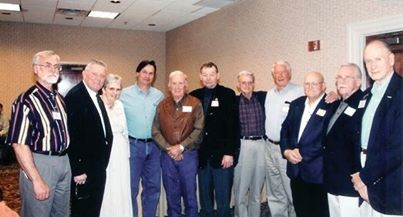 In this 1998 photo, some of the teaching greats of the early NOFMA schools were gathered. Shown are, left to right, Mickey Moore, Steve Houlihan, Patsy Davenport, Daniel Boone, Harold Reid, Lon Musolf, Gray Moulthrop, Warner Tweed, Roland Holder, Farris Kennon and Hank Williams.